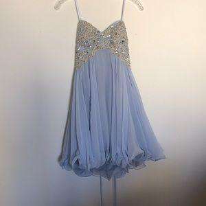 Baby blue escape short formal dress